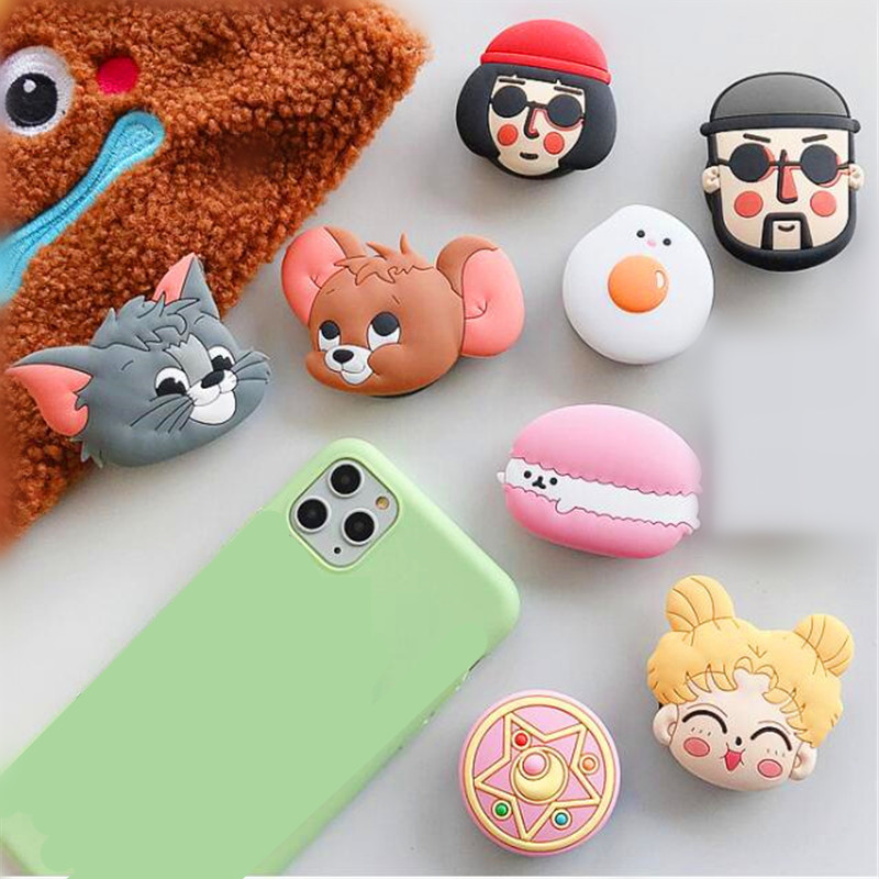 Cartoon Cat Mouse Egg Rotatable Silicone Phone Socket Smartphones Fold Pocket Socket Desktop Stand Bracket Phone Stand Holder