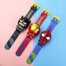 New Electronic Spiderman Children's Watch Telescopic Deformation Iron Batman Kids Watches For Student Boys Girl Wristwatch(China)