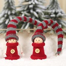 2pcs Lovely Christmas Pendants Knitted Long Hat Collectible Doll Xmas Tree Ornaments Home Garden Party Decoration