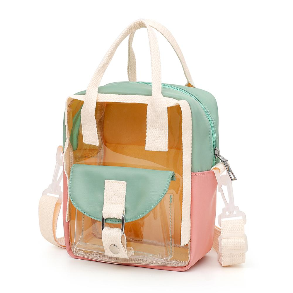 Female Top-handle Bag Student Girls Fashion Women PVC Hit Color Bagpack Hit Color Transparent Casual Backpack Travel Holiday