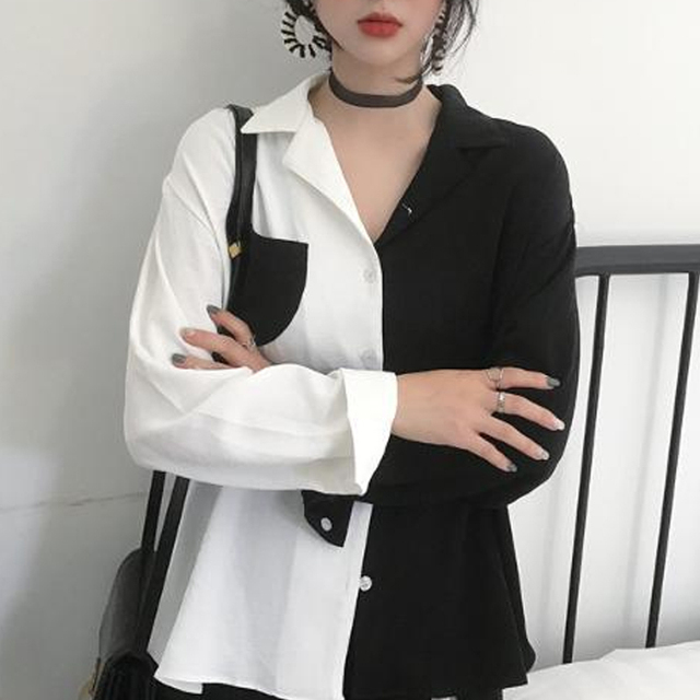 New Fashion Women Blouse Contrast Color Pockets Autumn Female Turn Down Collar Single Breasted Office Lady Shirt Top 3