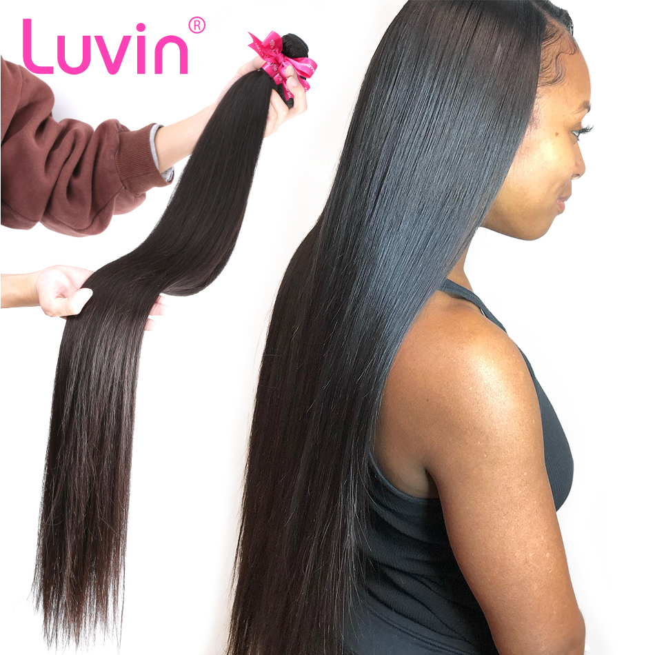 Luvin Straight 28 30 Inch 100% Human Hair Unprocessed Virgin Hair Weave 1 3 4 Bundles Natrual Straight Hair Extens
