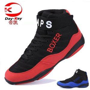 Zapatos de lucha de boxeo Unisex, botas de combate profesionales de talla grande 35-47, auténticas botas de lucha, zapatillas de deporte de entrenamiento