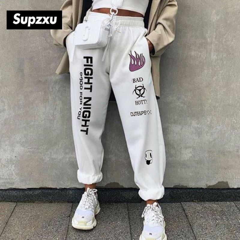 SUPZXU 2020 Men/Women high waist sports pants drawstring fitness loose pants fight night pocket black/white fashion sport pants