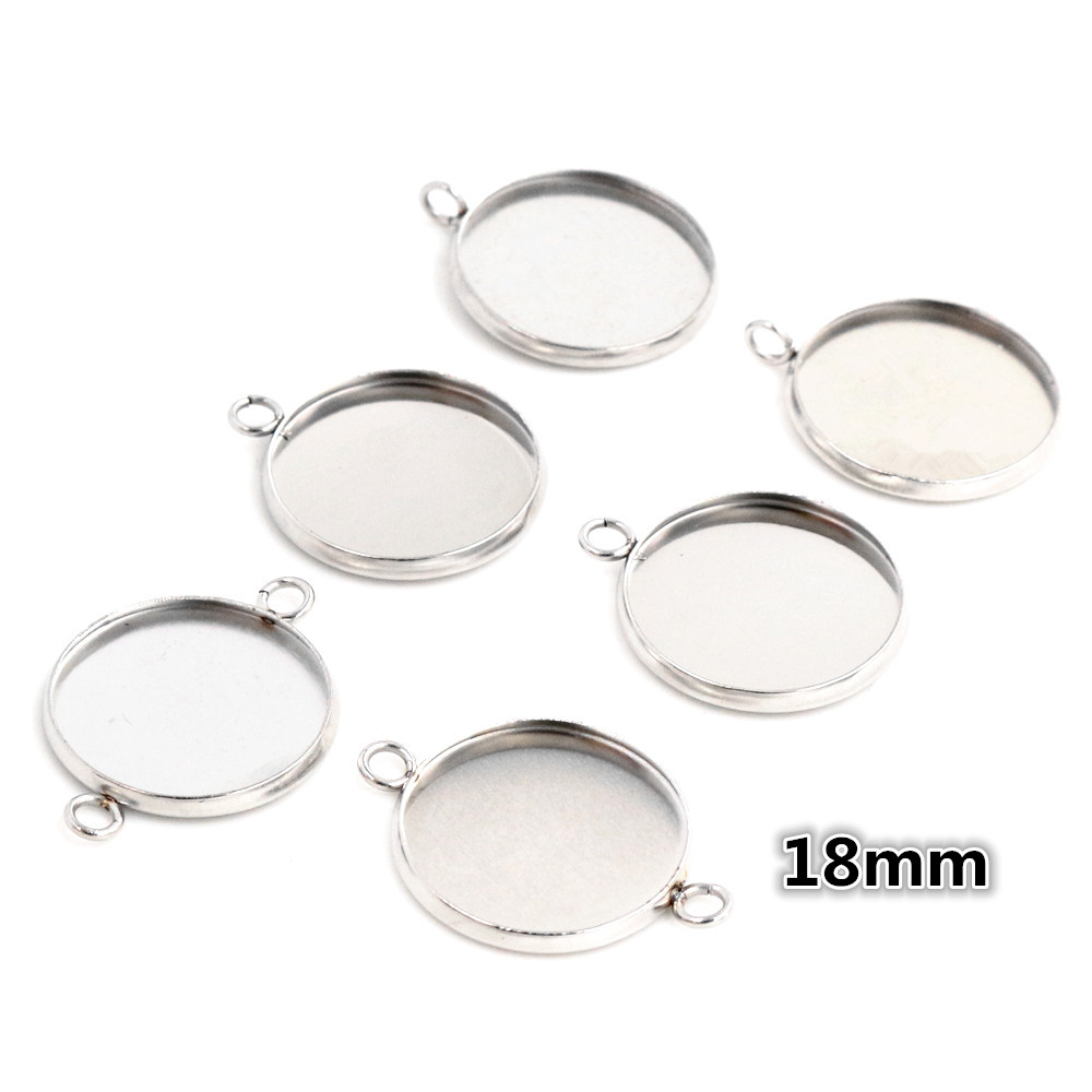 (Never Fade) 18mm 20pcs Stainless Steel 3 Style Cameo Settings Cabochon Base Charms Pendant High Quality