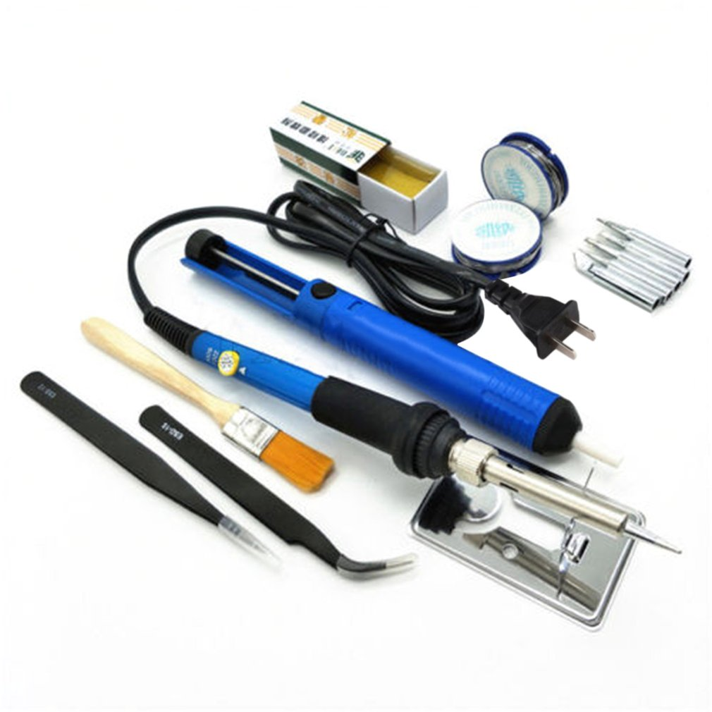 60W 200-450 Degree Adjustable Temperature Electric Soldering Iron Welding Tool Kit With Solding Wire Tweezers Desoldering Pump