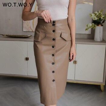 Wotwoy Elengant Alta Cintura Couro Penci Saia Feminina Multi Botão Envolto Saias Mujer Faldas Bolsos Sólidos Femme Jupes Novo 2020