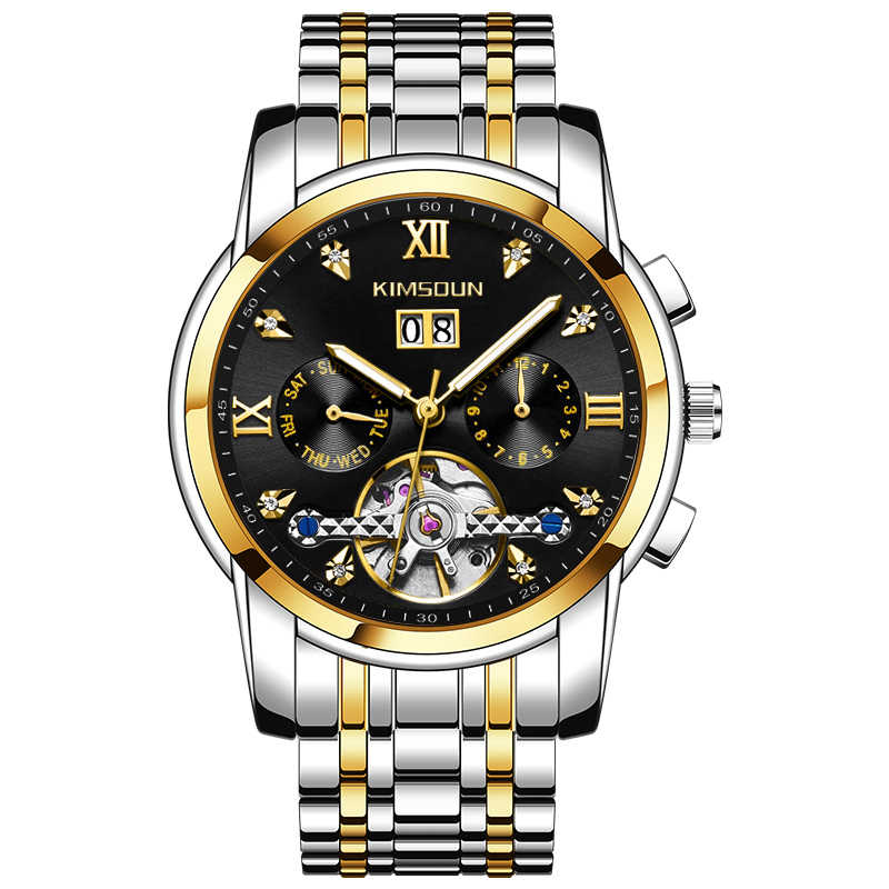 Reloj Automático para hombre, mecánico, con fecha luminosa, reloj Tourbillon, reloj Masculino