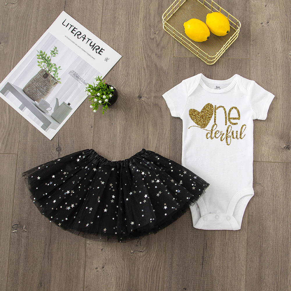 ONEderful Birthday Pink Gold Outfit 1st Birthday Party Girls Outfits Cake Smash Tutu+baby Bodysuits Summer Set Fashion Wear 12