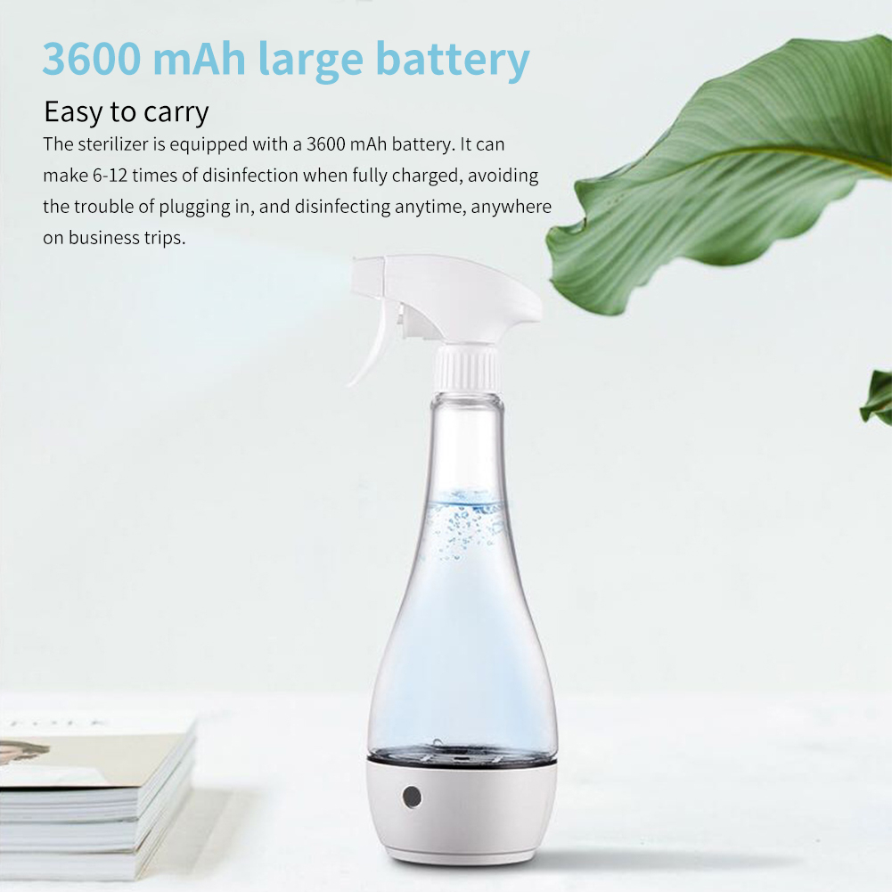 500 ml Disinfectant Liquid Generator for Efficient sterilization with 3600mAh Large Battery 3