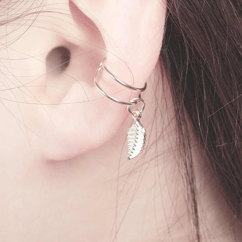 W stylu Vintage liść klip na kolczyki nie przebite ucho mankiet Pendientes De klip kobiety kolczyki uszu Ear Cuff Brincos komunikat biżuteria 4