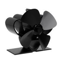 4 лопасти каминный вентилятор для печи, работающий от тепловой энергии алюминий эффективно теплая комната древесины бревна горелки экологичный тихий Печь вентилятор