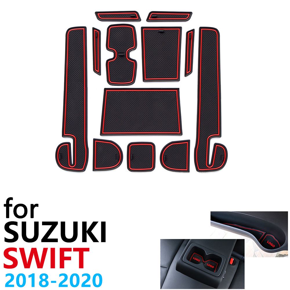 Anti-Slip Rubber Cup Cushion Door Groove Mat for <font><b>Suzuki</b></font> <font><b>Swift</b></font> 4 ZC33S <font><b>2018</b></font> 2019 2020 Sport Dzire Car <font><b>Accessories</b></font> mat for phone image