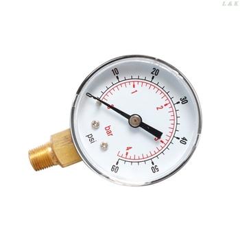 Manometr 52mm Dial 1 8 #8222 BSPT pionowy 0 15 30 60 100 160 300 PSI i Bar dolny uchwyt tanie i dobre opinie Shanwen 2-3 9 Cali ANALOG 200 PSI i Powyżej C63E9FF100341-30