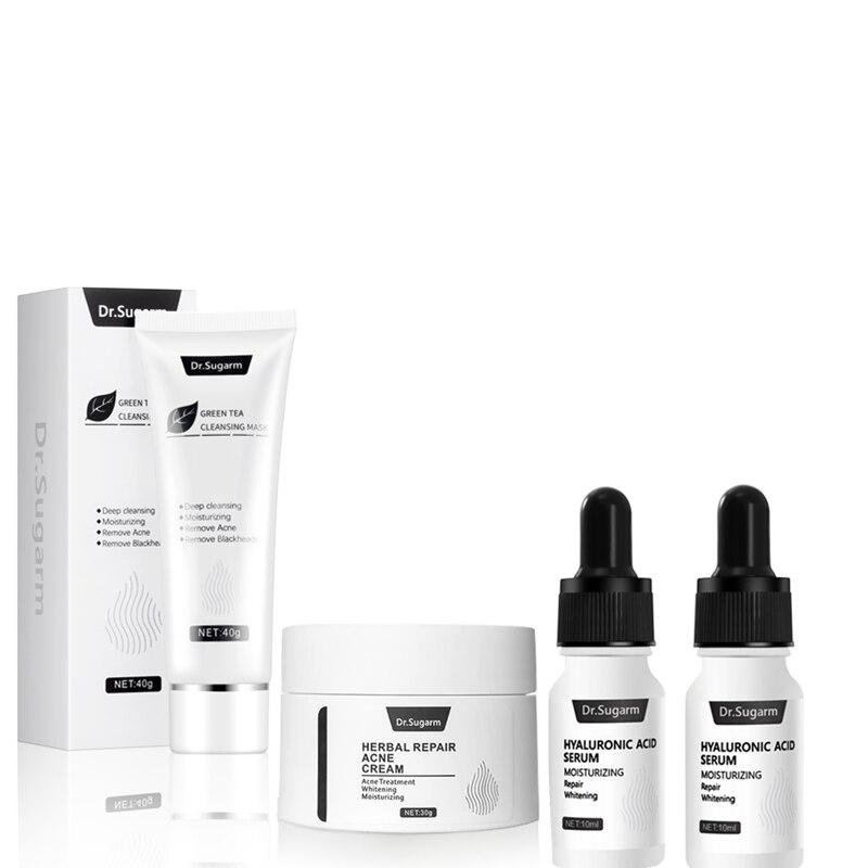 Dr.Sugarm Hyaluronic Acid Face Serum Anti Aging Green Tea Cleansing Moisturizing Mask Acne Repair Whitening Cream Skin Care Set