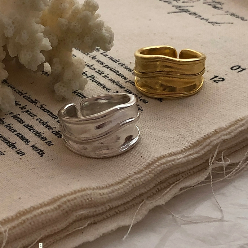 Silvology 925 Sterling Silver Irregular Thick Wide Rings High Quality Curve Texture Korea Rings For Women Unique Office Jewelry
