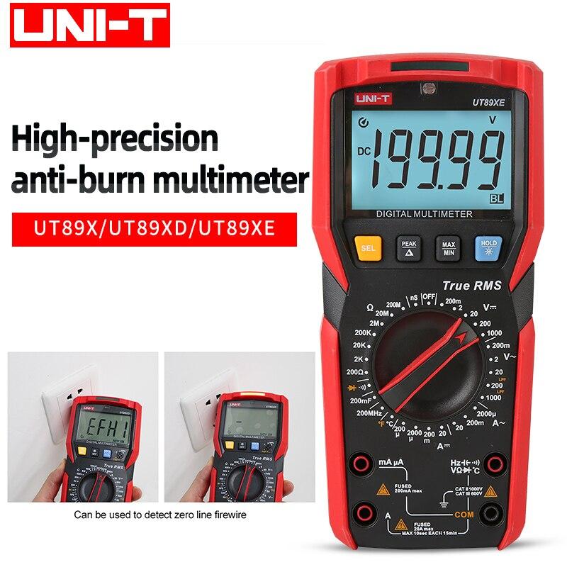 UNI-TUT89XE Профессиональный цифровой мультиметр true RMS NCV20A ток переменного и постоянного тока тестер напряжения емкости сопротивления UT89XUT89XD