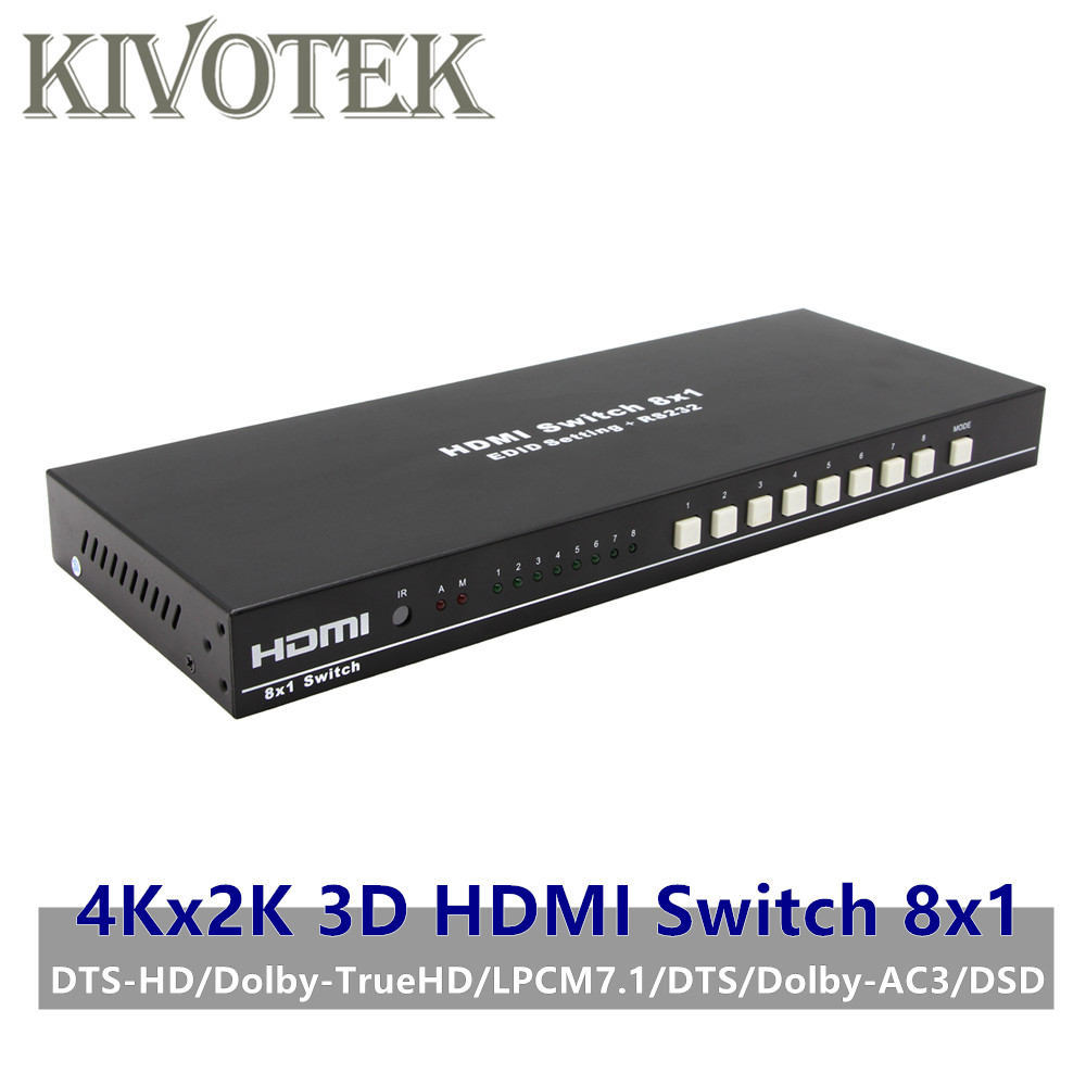 8 Ports HDMI Switch Switcher Adapter 8x1 4K*2K 3D HD1080p AC3/DSD IR RC Control Female Connector For DVD PS34 HDTV Free Shipping-in HDMI Cables from Consumer Electronics