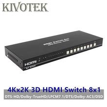 8 Ports HDMI Switch Switcher Adapter 8x1 4K*2K 3D HD1080p AC3/DSD IR RC Control Female Connector For DVD PS34 HDTV Free Shipping