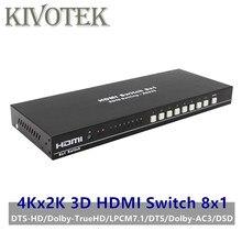 8 포트 hdmi 스위치 스위처 어댑터 8x1 4 k * 2 k 3d hd1080p ac3/dsd ir rc 컨트롤 여성 커넥터 dvd ps34 hdtv 무료 배송