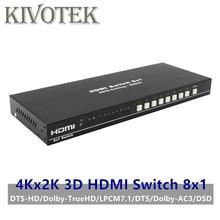 8 puertos HDMI Switch conmutador Adaptador 8x1 4K * 2K 3D HD1080p AC3/DSD IR de Control RC, conector hembra para DVD PS34 HDTV envío gratis