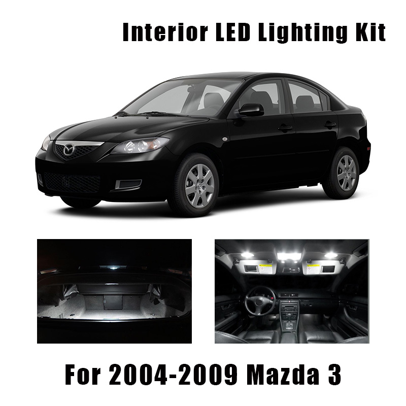 8 лампочек, белый светодиод, купольсветильник для чтения автомобиля, комплект для салона, подходит для Mazda 2004, 2005, 2006, 2007, 2008, 2009, 3 багажника, Ли...