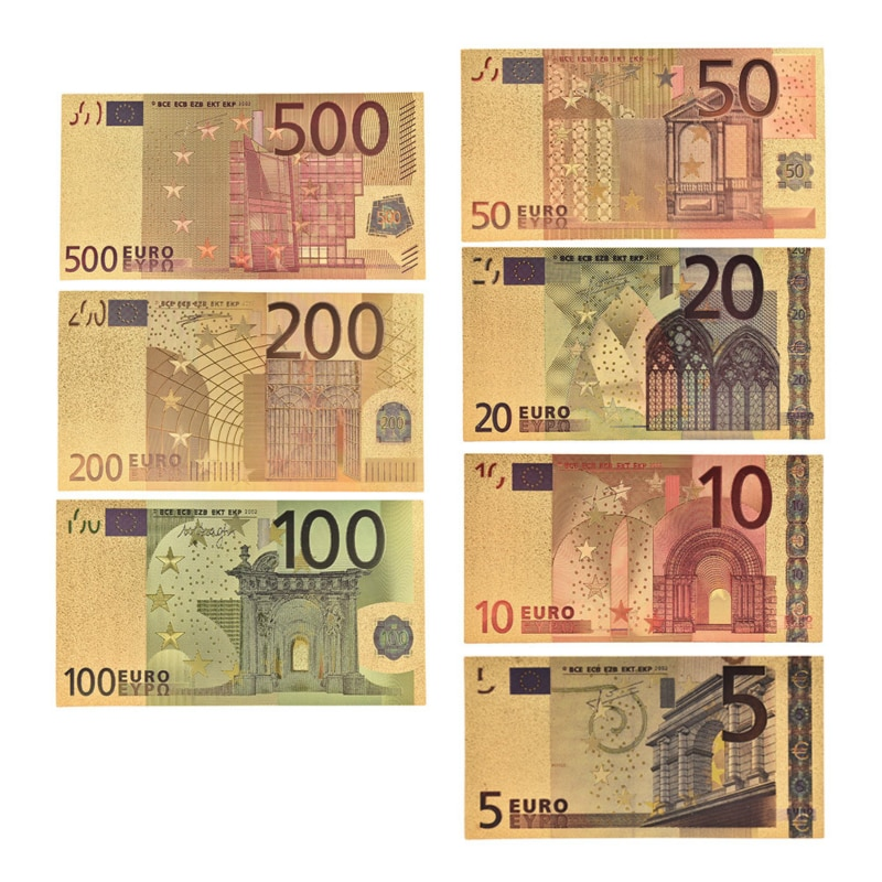 7 pçs/lote 5 10 20 50 100 200 500 eur notas de ouro em 24k ouro falso dinheiro de papel para coleção conjuntos de notas de euro venda quente
