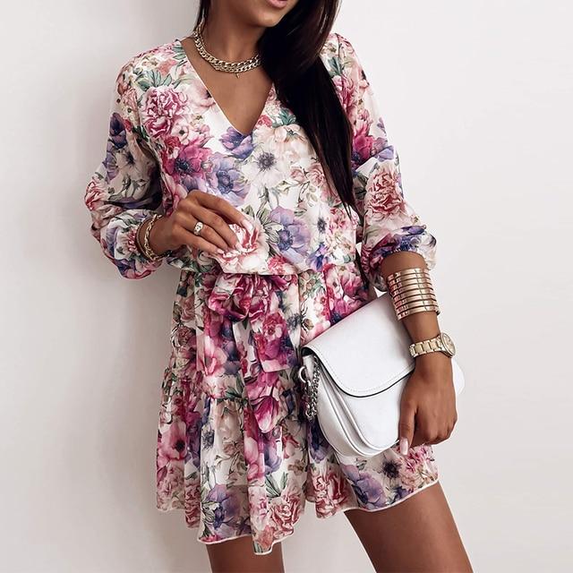 Long Sleeve Chiffon V-Neck Floral Print Mini Dress 1