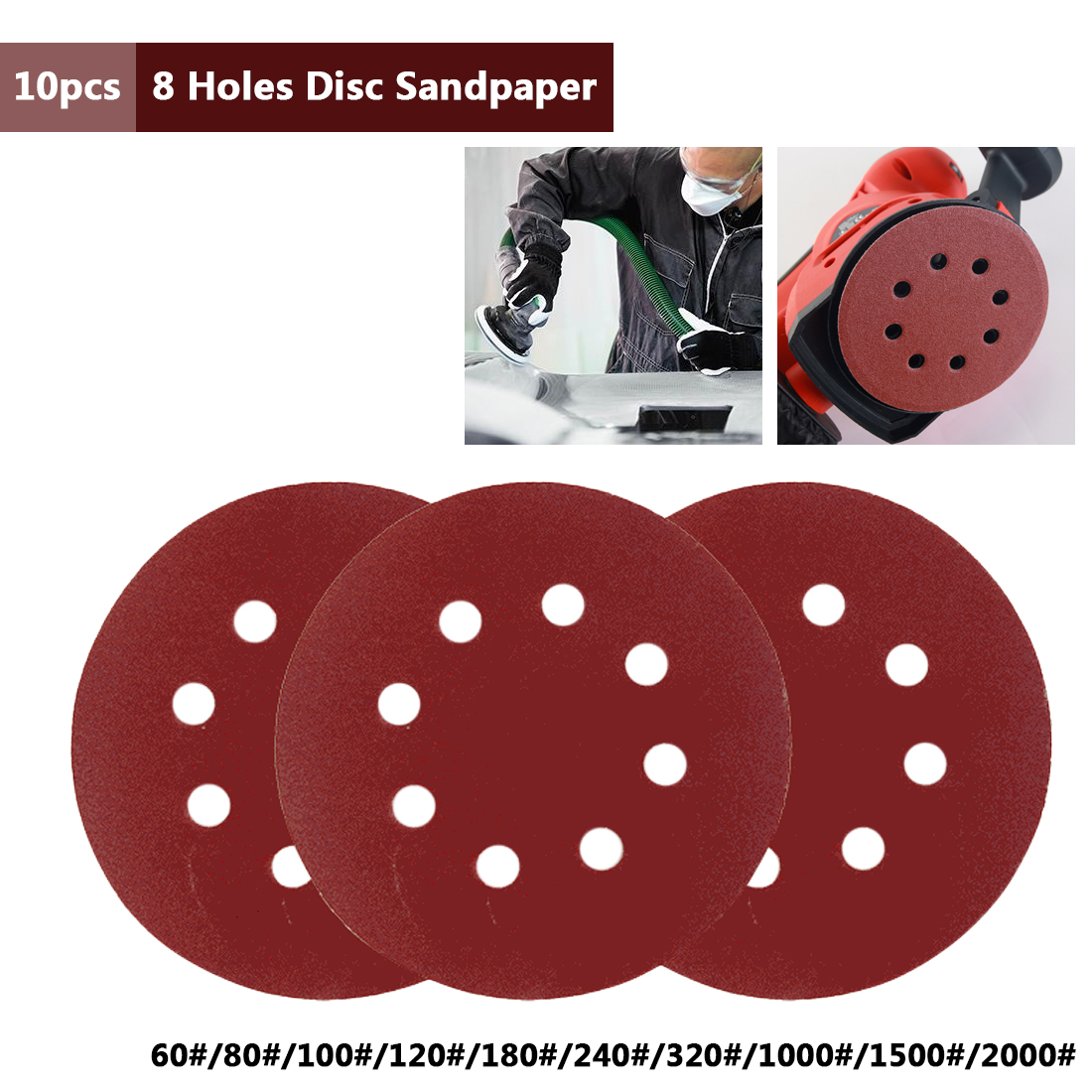 10pcs 5Inch 125mm Round Sandpaper Eight Hole Disk Sand Sheets Grit 60-2000 Hook And Loop Sanding Disc Abrasives For Polish