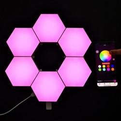Nueva aplicación de Control de Bluetooth, luces modulares de nido de abeja, montaje DIY, luces cuánticas hexagonales, novedad DIY, lámparas magnéticas RGB inteligentes