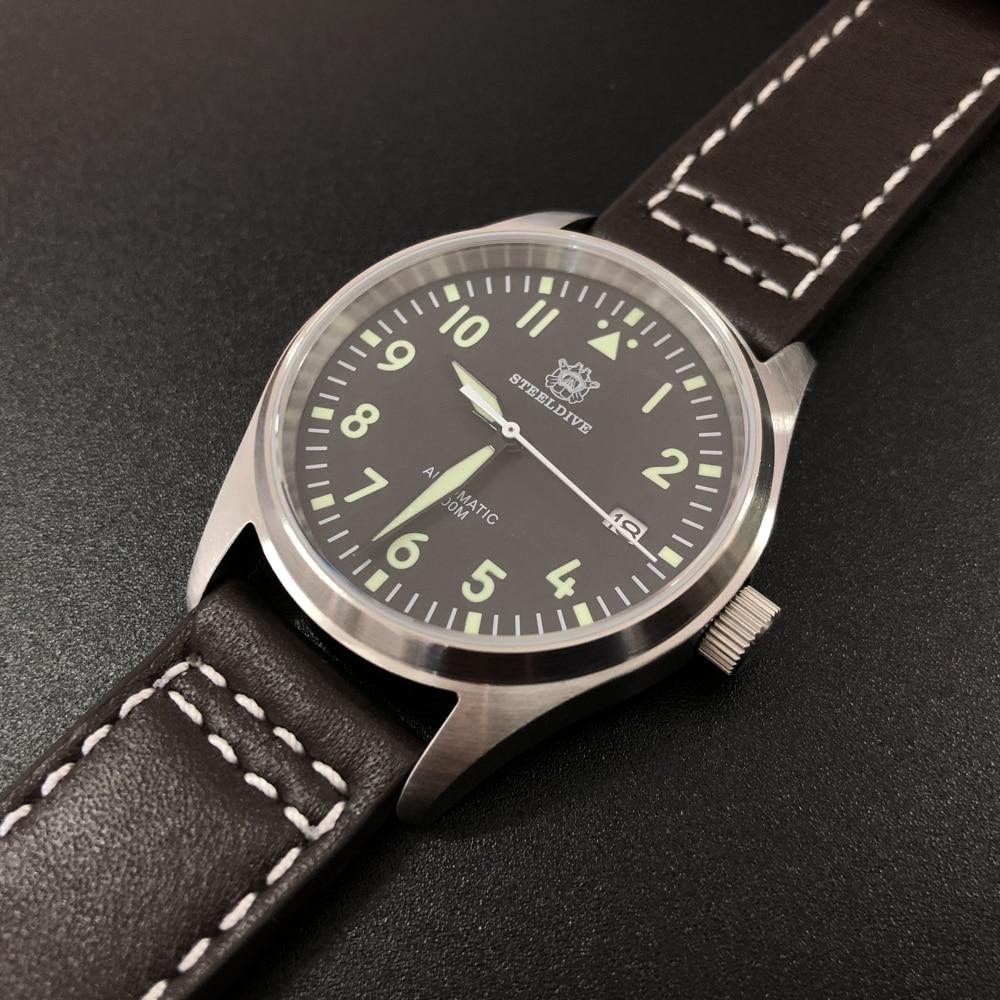 Steeldive Men Pilot Watch Stainless Steel Watch 200m Water Resistant NH35 Movement Wristwatch Sapphire Glass 39mm(China)
