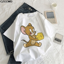 Cheese Tattoo Mouse Jerry Funny Cartoon Print Women T-shirt