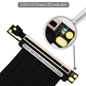 Image 2 - Pcie 3.0 × 16 pci expressライザー延長ケーブル柔軟な高速90度gup用led付グラフィックスカード