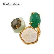 Timeless Wonder Stunning Geo Stone Statement Ring Punk Cocktail Anillos Mujer Gothic Opal Gifts Women Jewelry Rare Boho 4336