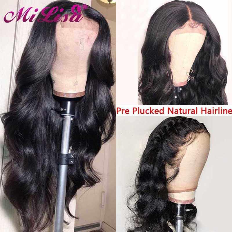 Pelucas de onda del cuerpo peruano de 26 pulgadas pelo Remy Mi Lisa pelucas de cabello humano frontal de encaje sin pegamento de 150 densidad con el pelo del bebé
