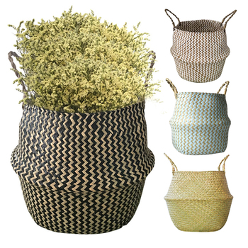 Handmade Bamboo Storage Baskets Nordic Foldable Laundry Straw Wicker Rattan Seagrass Belly Garden Flower Pot Planter Basket patimate seagrass wickerwork garden flower pot foldable laundry straw patchwork planter basket bamboo rattan storage baskets