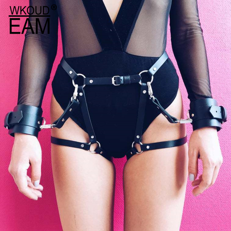 WKOUD EAM 2020 New Bow PU Leather Belt Women Sexy Club Warming Charming Wild Leather Body Chain Lady Tide PE411