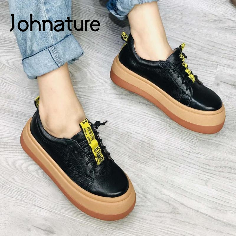 Johnature Retro Pumps Women Shoes Genuine Leather Lace-up Fashion Casual 2020 New Spring Round Toe Platform Concise Ladies Shoes