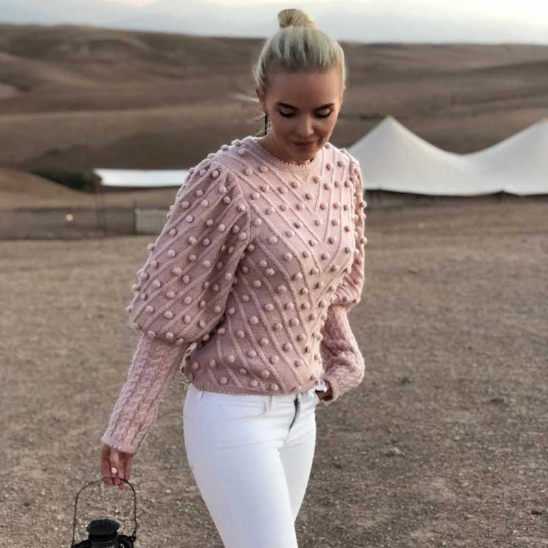 Women's Pink Pullovers & Sweaters Round Neck Embellished Long Sleeve Blue Solid Knitted Jumper 2019 Autumn Winter Fashion New