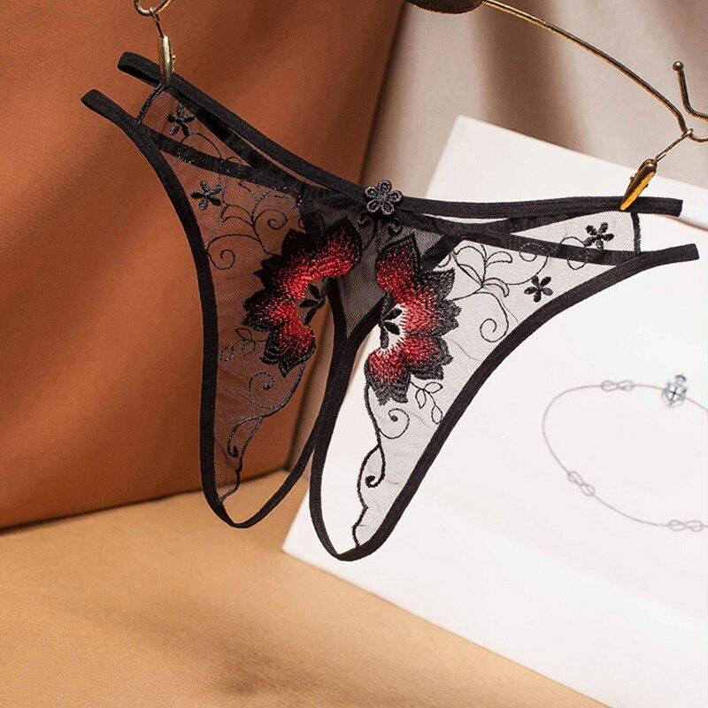 Tat seksi günaha kadın G-String şeffaf ağ nakış seksi tanga açık dosya ücretsiz kapalı düşük bel t pantolon G-String