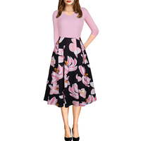 AIYIGU Women Floral Printing Dress Ladies Sweet Patchwrok Vintage Swing Dresses V neck 3/4 Sleeve Party Clothing Autumn