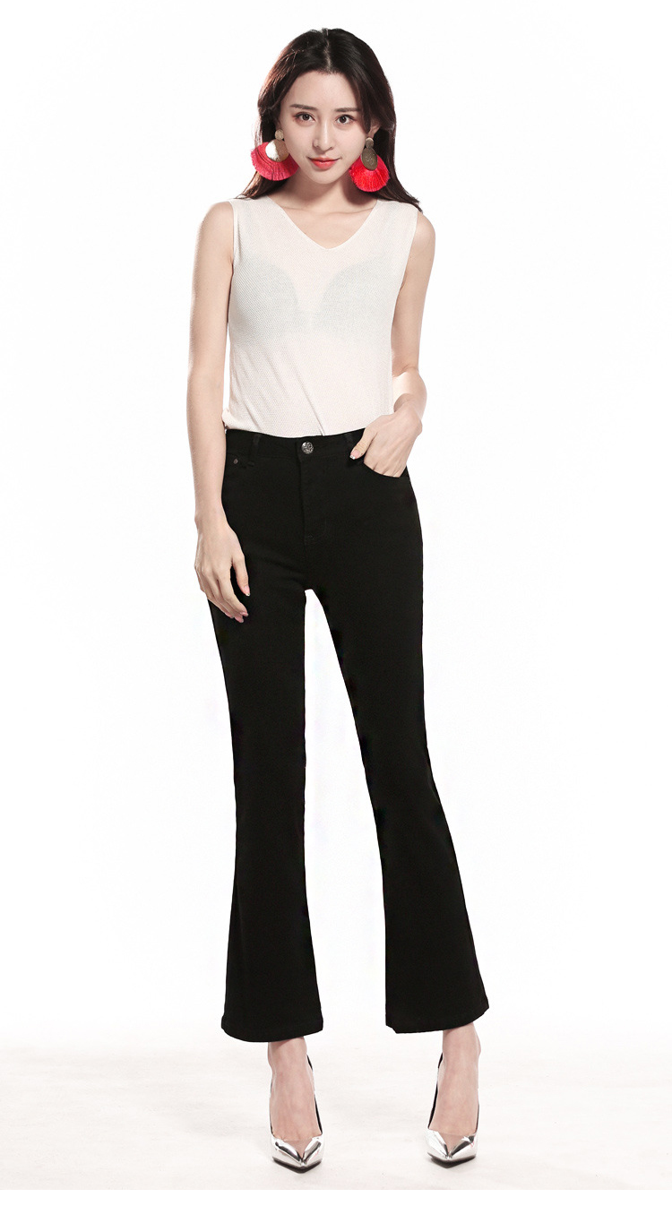 KSTUN FERZIGE  Womens Jeans Solid Black Blue Summer Thin Flare Pants Cropped High Waist Stretch Denim Pants for Yong Girls Fashoin 14