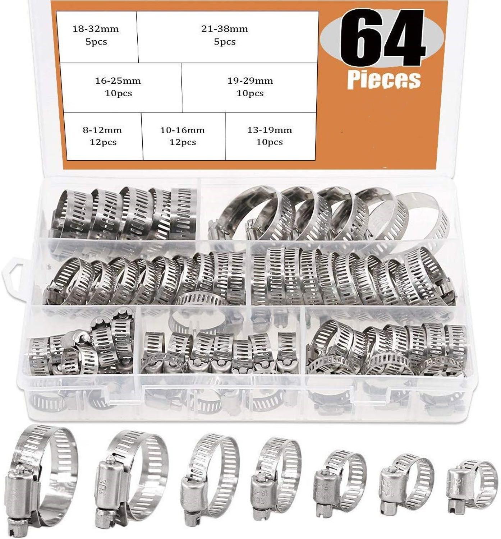 64 шт. регулируемые зажимы диаметром от 8 до 38 мм, червячный редуктор, зажим для шланга, набор в ассортименте для различных труб, для механичес...