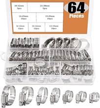 64 pces ajustável 8 a 38mm diâmetro grampos worm engrenagem mangueira braçadeira sortimento kit para várias tubulações automotivo uso mecânico