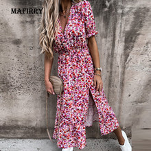 Summer New arrival Floral Pattern Slim Dress Casual Short Sleeve High Waist Dresses Female Sexy V-Neck Outdoor Colorful Dresses