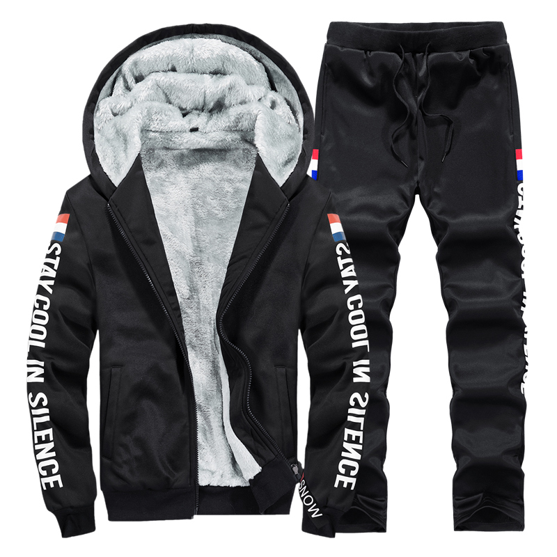 Tracksuit Man Winter Thick  2 Piece Tracksuit Casual Men's Sports Suit Warm Plus Size Men's Clothing M-9XL Sweat Suits Men