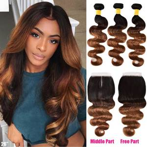 Image 2 - 옹 브르 바디 웨이브 번들 (Closure Ombre Human Hair 3 4 Bundles With Closure Remy) 브라질 헤어 위브 번들 (Closure Remy)