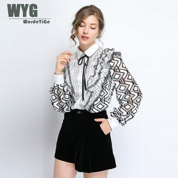 Unique Original Designer Blouses Women 2019 Autumn New Arrival Geometric Hollow Out Ruffles Lantern Sleeve Elegant Knitted Tops