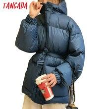 Tangada Женская однотонная парка больших размеров с поясом с капюшоном на молнии зимнее женское теплое пальто корейская модная куртка ATC01