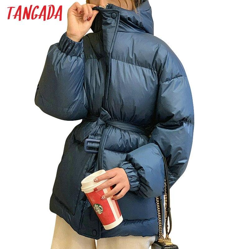 Tangada Женская однотонная парка больших размеров с поясом с капюшоном на молнии 2019 зимнее женское теплое пальто корейская модная куртка ATC01